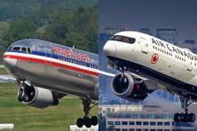 American Airlines et Air Canada en phase de décollage (images d'illustration)