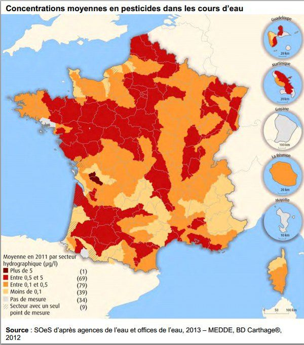 carte pesticides cours d'eau