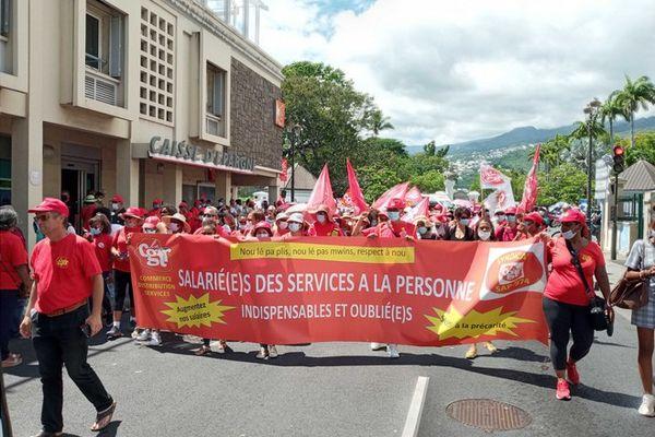 greve du 4 février 2021 intersyndicale CGTR FSU SAIPER Solidaires rue de Paris Saint-Denis 040221