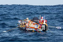Le skipper Olivier Bernard (Team Guyane) sur son bateau Ninay 973.