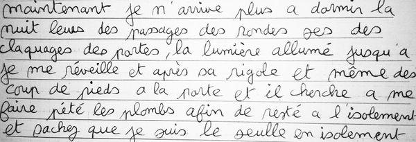 Lettre de Fabrice Boromée adressée à l'Observatoire international des prisons le 28 juillet 2015.