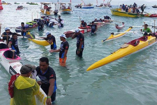L'arrivée à Uturoa - 1ère étape de la Hawaiki nui 2015