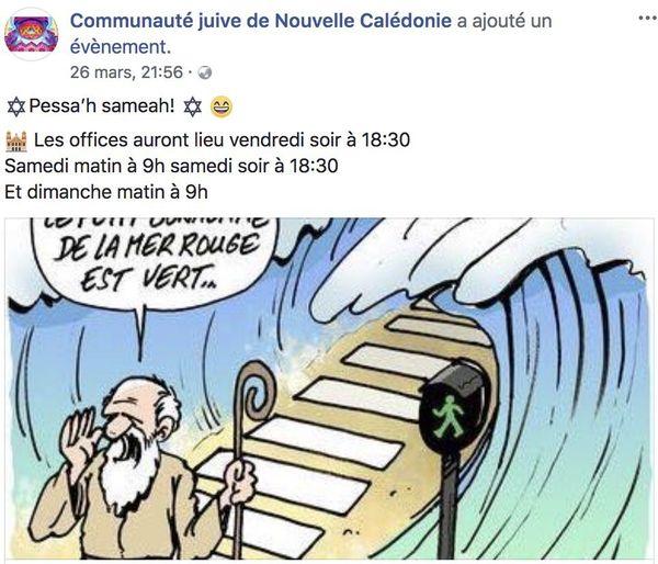 Annonce Facebook Pessa'h Nouméa (2018)