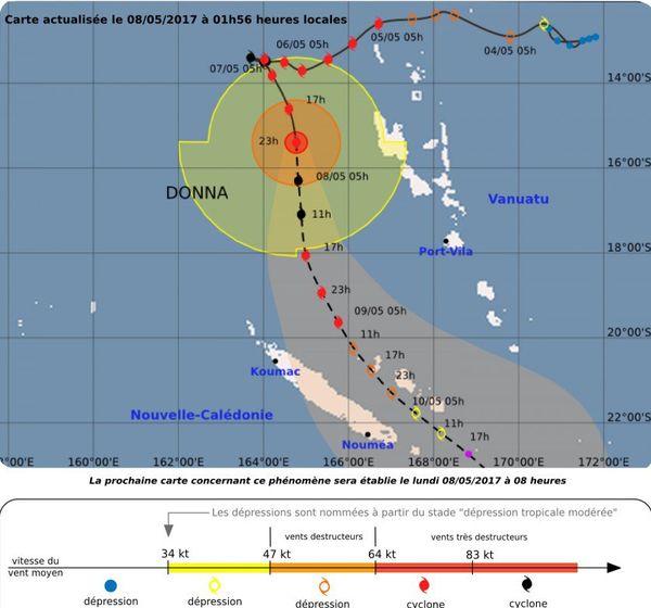 Trajectoire cyclone Donna lundi 8 mai 1h56