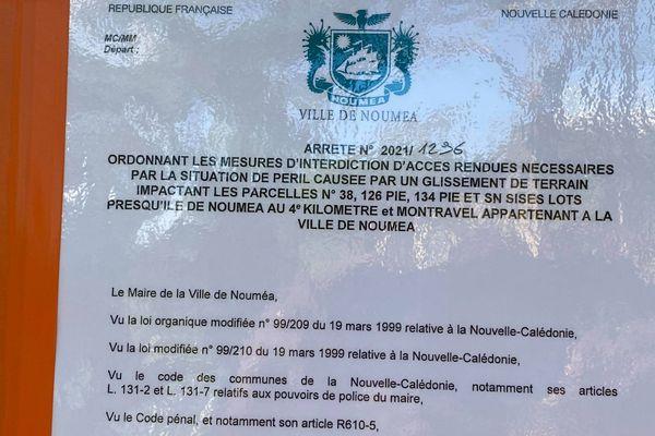 Affaissement de terrain au mont Té, arrêté municipal, 26 mai 2021