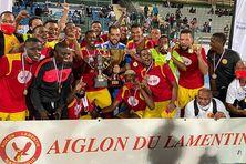 Les joueurs de l'Aiglon après la remise des récompenses de la coupe VYV, mardi 29 décembre 2020 au stade des Abymes