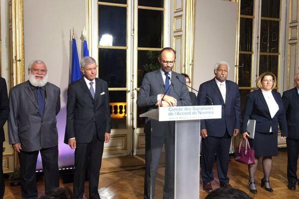 Le Premier ministre, Edouard Philippe, après le 16e comité des signataires, à Matignon.