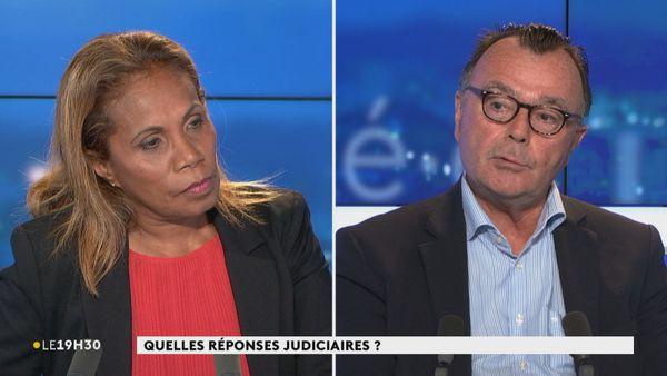 Le procureur Yves Dupas au journal télévisé le 16 février 2021, avec Thérèse Waïa