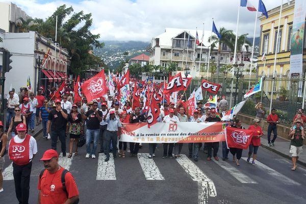 Accord sécurisation emploi, manifestation CGTR/FO/FSU Rue de Paris