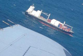 Vue porte-conteneurs Kea Trader depuis avion (25 août2017