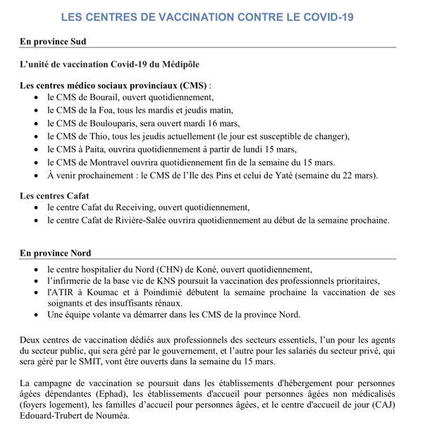 Centres de vaccination NC
