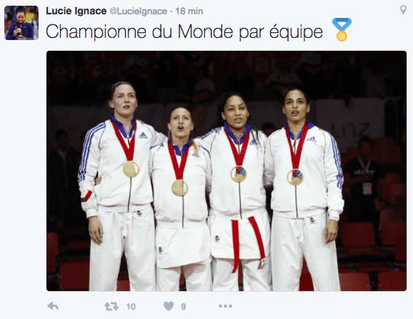 twitt ignace championne du monde par équipes