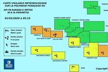 Météo France maintient la vigilance orange sur Mopelia, la Société, et les Gambier, dimanche 1er mars.