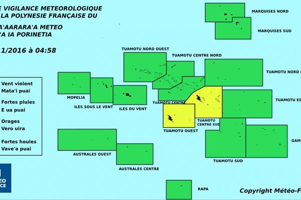 Risque d'orage sur les Tuamotu centre et centre sud