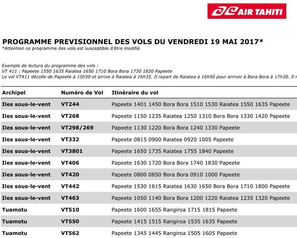 Programme prévisionnel des vols d'Air Tahiti pour vendredi 19 mai
