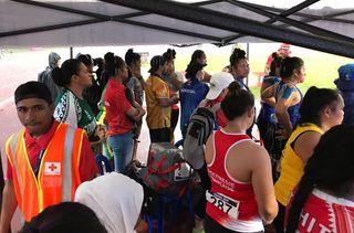 Samoa 2019, lancer de poids sous la pluie