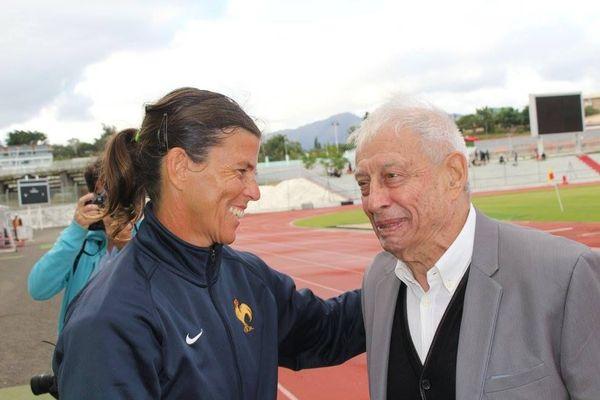 Jean Jalabert avec Cathy Devillers, ex-joueuse du XV de France