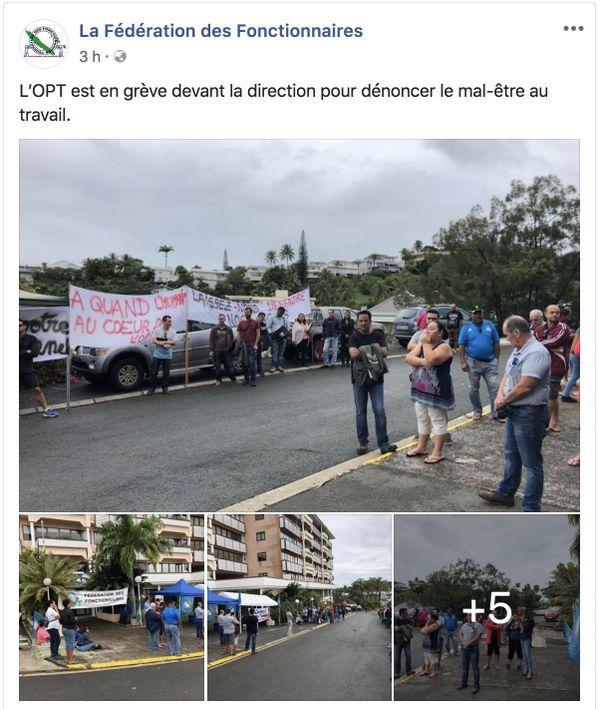 """Capture de la grève à l'OPT sur la page Facebook de la """"Fédé"""", 22 mai 2018"""