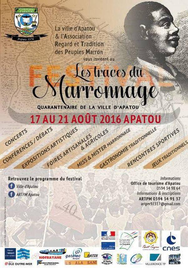 Affiche Festival Traces Marronnage Apatou 2016