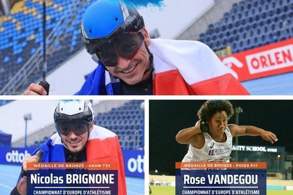 Handisport championnats d'Europe. Fairbank, Brignone, Vandegou