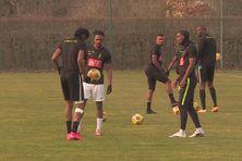 Les joueurs du Club Franciscain à l'entraînement à Clairefontaine près de Paris.
