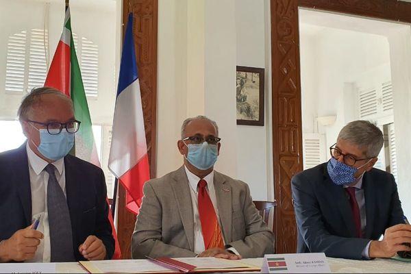 Le préfet Marc Del Grande avec à ses côtés le ministre Ramdin 4 septembre 2020
