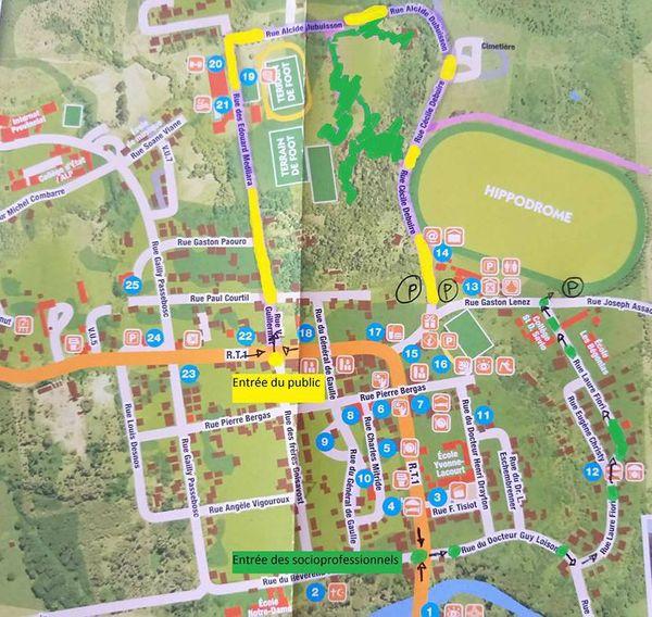 Plan d'accès à l'hippodrome Banu, avril 2018