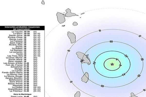 Carte séisme Martinique