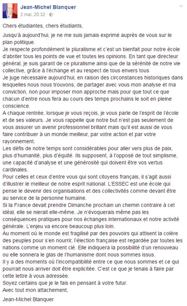 Blanquer Facebook
