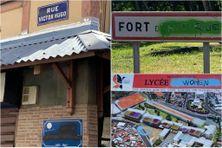 Panneaux et plaques dégradés à Fort-de-France.
