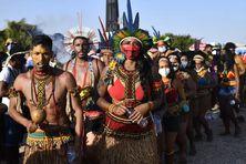 Quelque 6 000 d'indigènes en tenue traditionnelle ont manifesté mercredi 25 août à Brasilia (Brésil), où la Cour suprême devait rendre un jugement crucial sur leurs terres ancestrales.