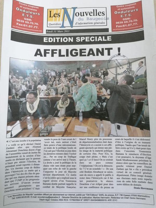 Revue de presse 10 ans départementalisation Une Les nouvelles de Mayotte édition spéciale