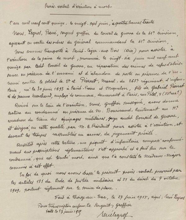 Le procès verbal d'exécution à mort de Marcel Pierret, juin 1915