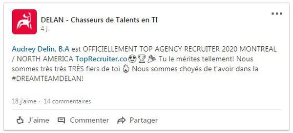 Audrey Delin top recruiter 2020 Montréal