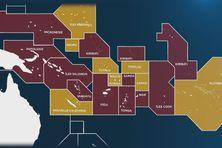 En jaune apparaissent les pays où l'influence chinoise ne s'exerce pas encore, soit les territoires français du Pacifique, les Samoa Américaines, Tokelau, Tuvalu, les Iles Marshall et Nauru.