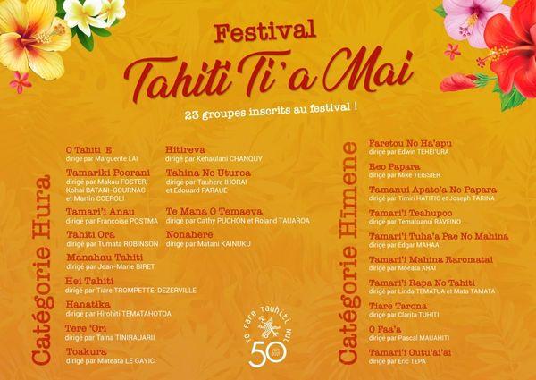 Programme du Festival Tahiti Ti'a Mai !