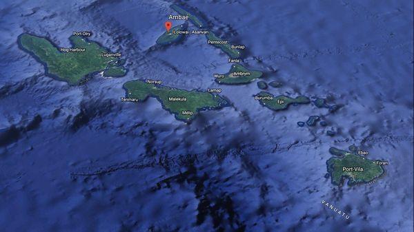 Carte du Vanuatu avec Ambae