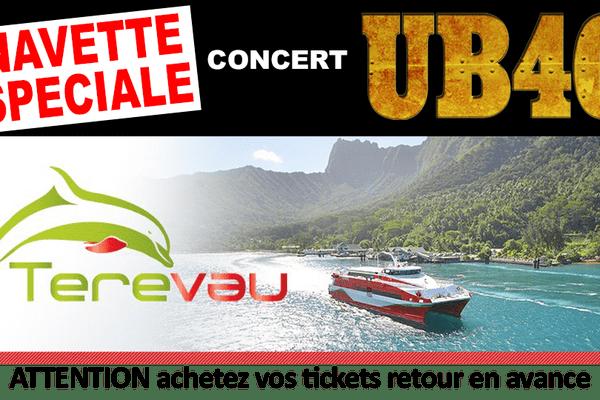 Une navette spéciale du Terevau pour le concert des UB40
