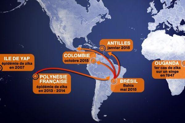 Propagation de l'épidémie de zika