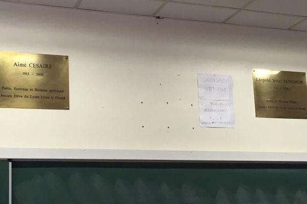 Plaques Césaire et Senghor Lycée Louis le Grand