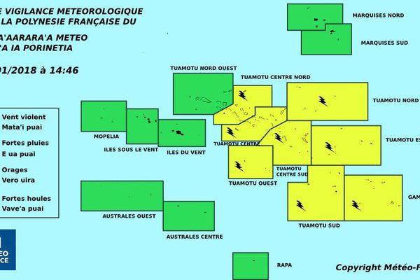 Les risques d'orages concernent la quasi totalité des Tuamotu