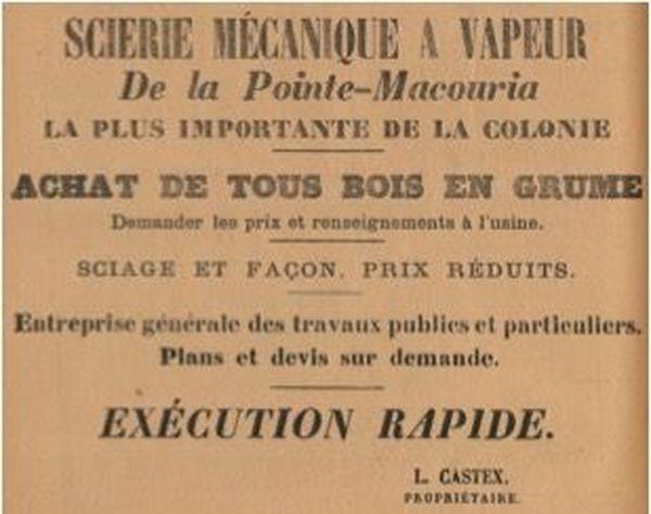 Avis de publicité scierie Castex