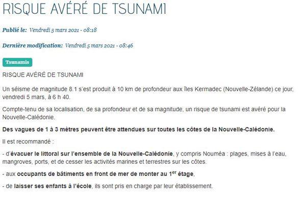 Sécurité civile NC risque tsunami