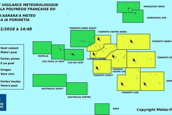 Les Tuamotu, toujours en vigilance jaune pour les risques d'orages