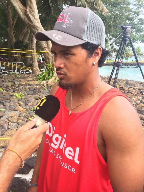 Samoa 2019, Taerea Manoa après la victoire des rameurs calédoniens sur V6