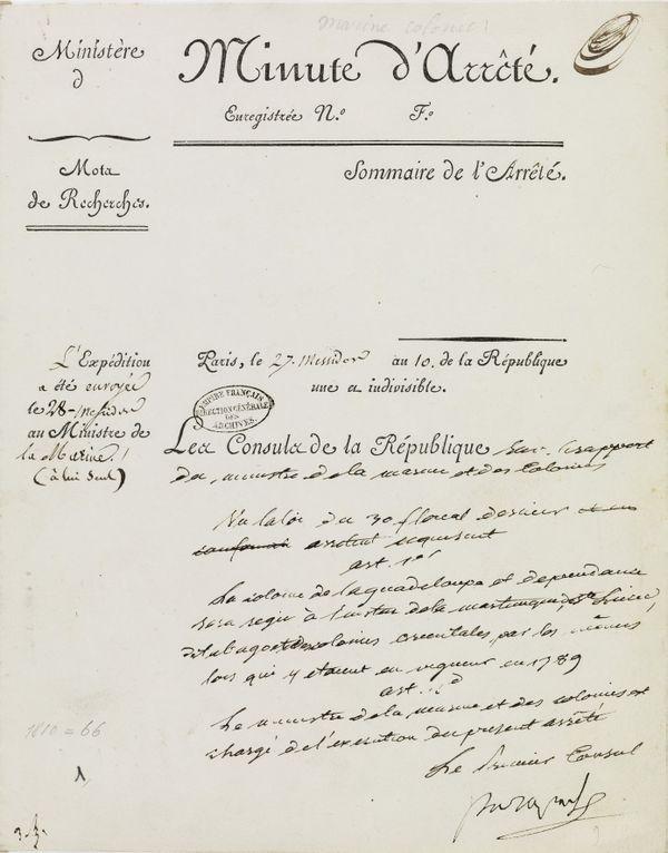 L'arrêté consulaire du 16 juillet 1802 / rétablissement esclavage Guadeloupe