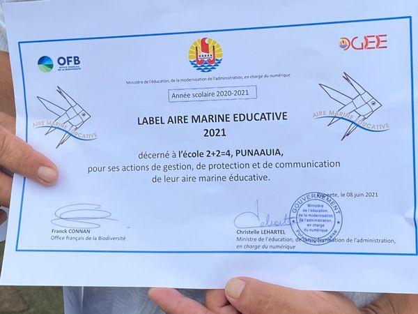 L'école 2+2 = 4 de Punaauia encore labellisée aire marine éducative