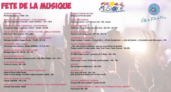 Programme fête de la Musique à Fort-de-France