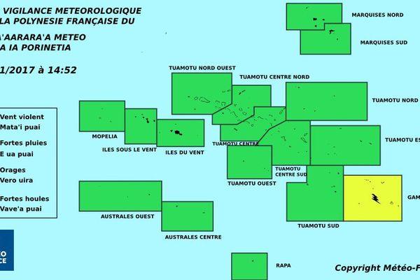 vigilance jaune pour les orages aux Gambier
