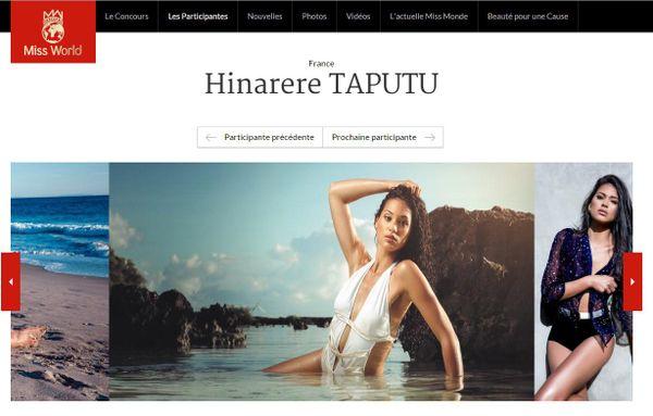 Hinarere Taputu candidate Miss World 2015